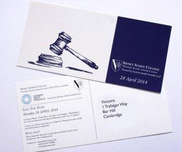 Sydney Sussex College Invite Produced by Victoire Press, Cambridge
