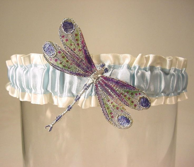 wedding garter Winged DRAGONFLY Handpainted a by PetereneDesign, $24.00