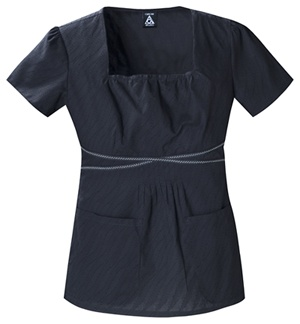 Square Neck Top in Black Diagonal Dobby Wave Square Neck Top  Fabric: 100% Cotton Diagonal Dobby $26.99 #scrubs #nurses #doctors #medicaloutlet #studio #cherokee