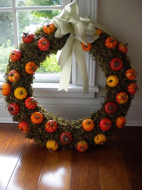 pumpkin and moss wreath