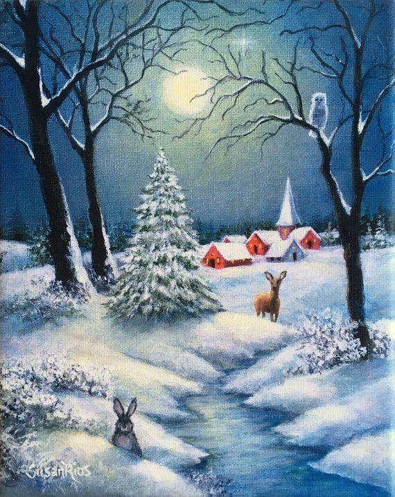 Snow Landscape Full Moon Landscape Painting Winter Night