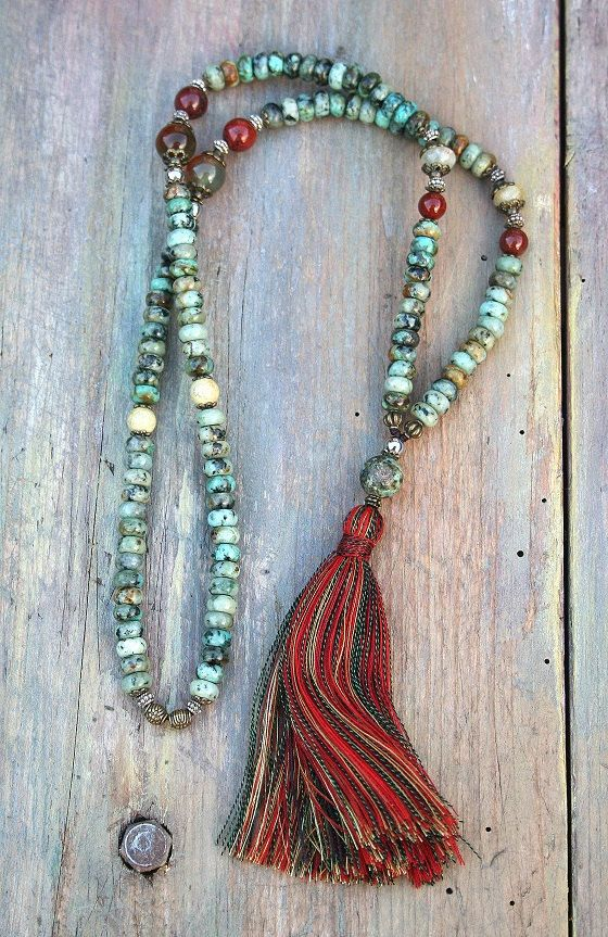 Collier mala pierre turquoise africaine belle par look4treasures