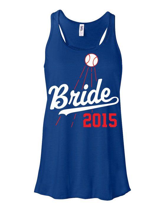 Bride Flowy Racerback Shirt Tank Dodgers Baseball by ShopLintyCat