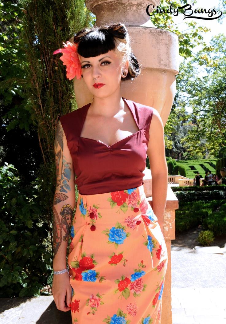 Maria Top & Michelle print skirt. s/s 2012