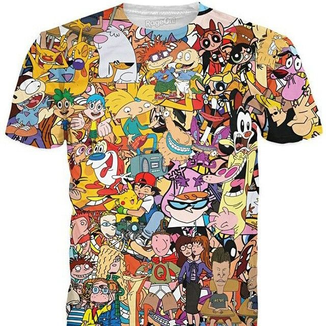 """love the cartoons from the 90's? then you will love this printed tee.. head on over to www.rageon.com to buy it and others like it.. use the code """"DYNAMITE"""" when you check out to get 10% off :) #clothing #fashion #cartoons"""