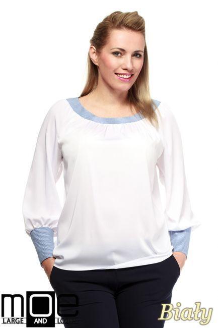 Zwiewna bluzka damska z marszczeniami przy dekolcie i rękawach markie MOE.  #cudmoda #moda #styl #ubrania #odzież #clothes #xxl #plus_size