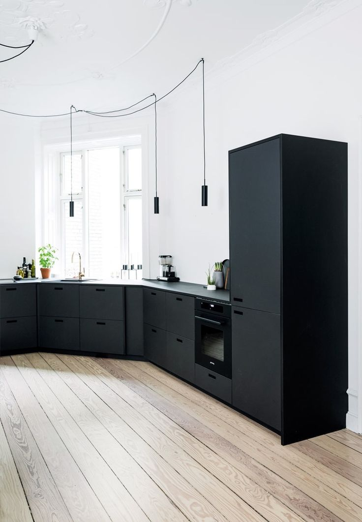 Matt black kitchen units