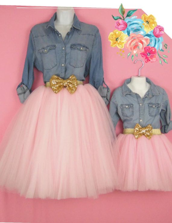 "Mother Daughter Matching Light Pink Tulle Skirts mommy and me set tutu skirts, ""Samantha"". Bridal flower girl bridesmaid skirts."