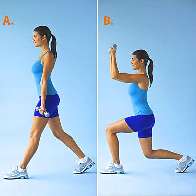Fit into those skinnies with these Lunge Curls. #fitness #lunges | Health.com