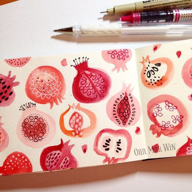 I have to declare it's been a long day for me so I savoured every brush stroke and mark. It's also the last page of my 4th Moleskine sketchbook, I even used the end paper as these pomegranates were so