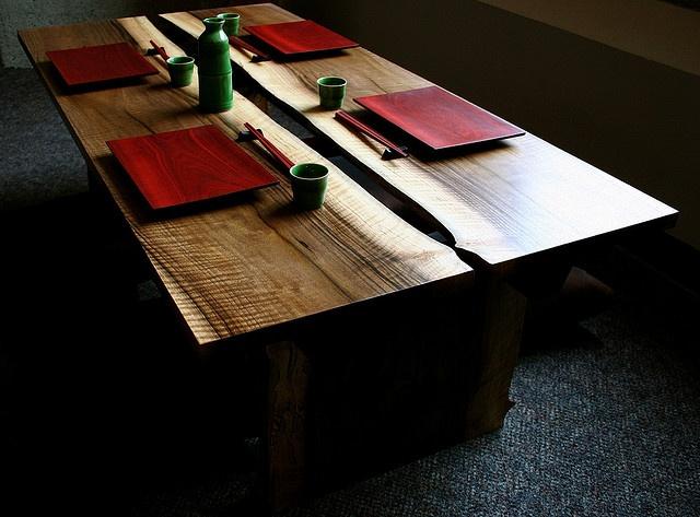 Asian Inspired Table With Sushi Amp Sake Set Art Furniture
