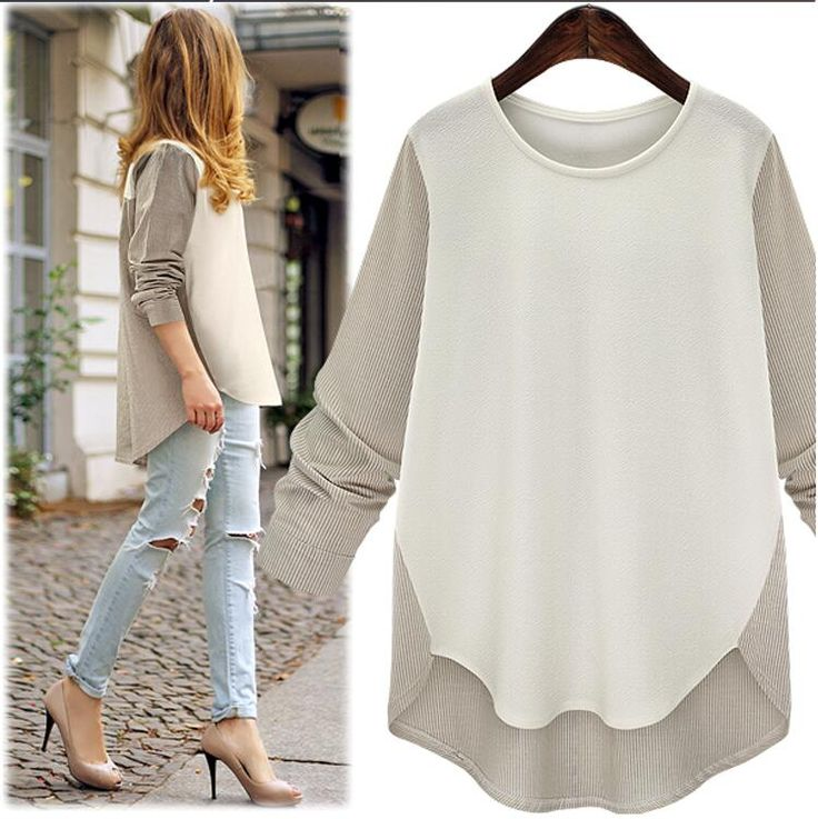 2016 Summer Plus Size Women's Fashion Long Sleeve Spell Color Long Boose Irregular Hem Chiffon Shirt Blouse