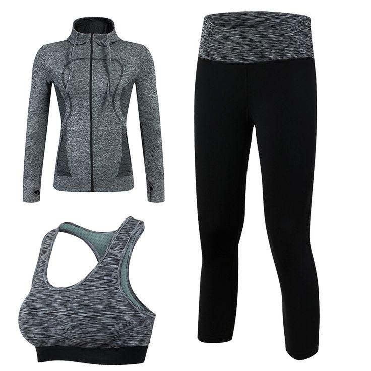 New Arrival Quick Dry Workout Sport Suit Women 3pcs Yoga Sets(JacketPantBra)Jogging Suit Fitness Black Gym Tracksuit Clothing