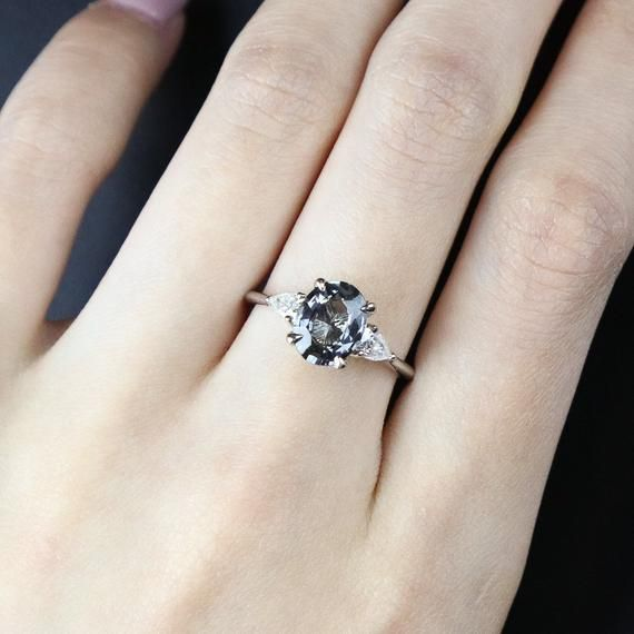 Grey Spinel and Moissanite 3 Stone Engagement Ring Diamond Free Ring Classic Wedding Ring Oval Spinel Ring Trilogy Ring