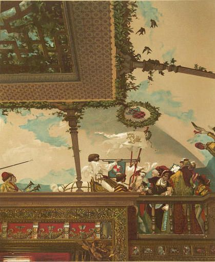 "640 Fifth Ave | Section of the ""Fete"" by Galland painted on the ceiling of the Drawing Room in William H. Vanderbilt's residence."