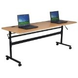 "Economy Flipper Training Table Width: 60"", Color: Teak (Office Product)"
