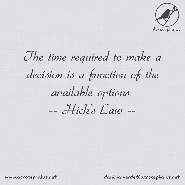 The time required to make a decision is a function of the available options