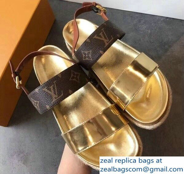 f4ca06d59ebe Louis Vuitton Metallic Calf Leather And Patent Monogram Canvas Odyssey  Sandals Gold 2018