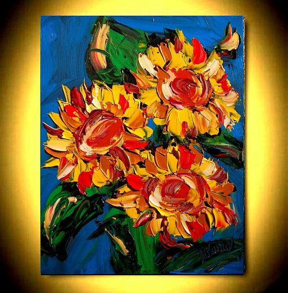 Large Sunflowers  Original Oil Painting on canvas by kazavart