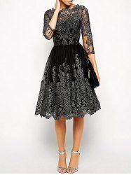 Vintage Scalloped See Thru Dress - BLACK