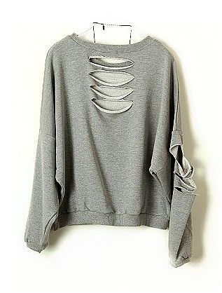 Grey Batwing Long Sleeve Ripped Cotton Sweatshirt