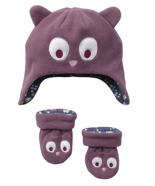 Owl Mitts and Hat Set