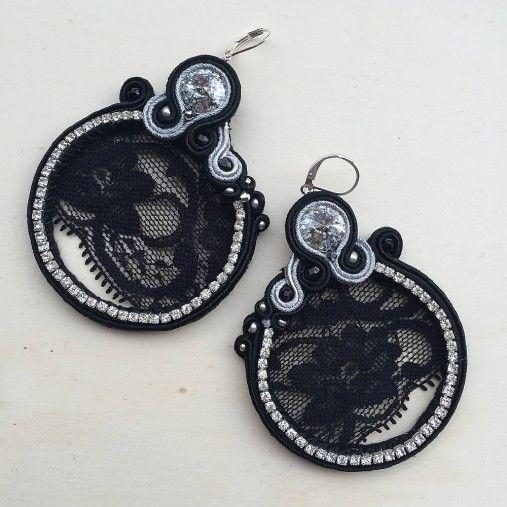 Black lace soutache earrings