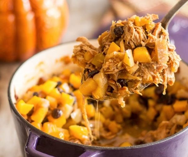 This paleo pulled pork and butternut squash casserole has ample notes of sweet apple, spicy seasonal aromas and delicious tones of salted butter.