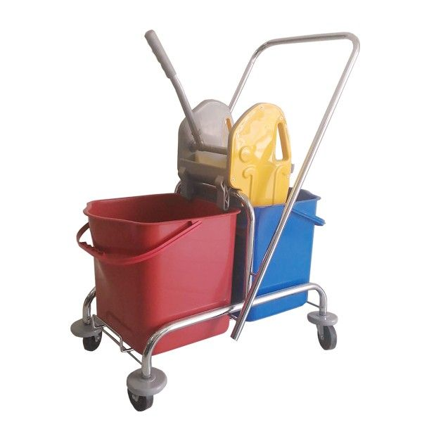 Double Bucket Stainless Deluxe.  - Type: 302KL-2525DX - Capasitas :48L - Wringer:Down Press  - Color:Stainless steel Trolley, Blue Red Bucket, Yellow Grey Wringer - product size :66x40x87cm - Handle Size:85L x 40W cm - Harga per Unit.  http://alatcleaning123.com/ember/1686-double-bucket-stainless-deluxe.html  #ember #bucket #alatcleaning