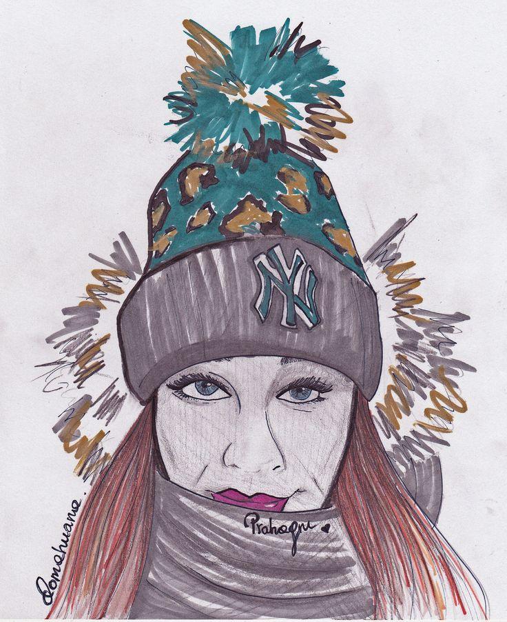 Dominika Werner studentka MSKPU, ilustracja modowa, rysunek żurnalowy  MSKPU fashion student's fashion illustration.  www.mskpu.com.pl