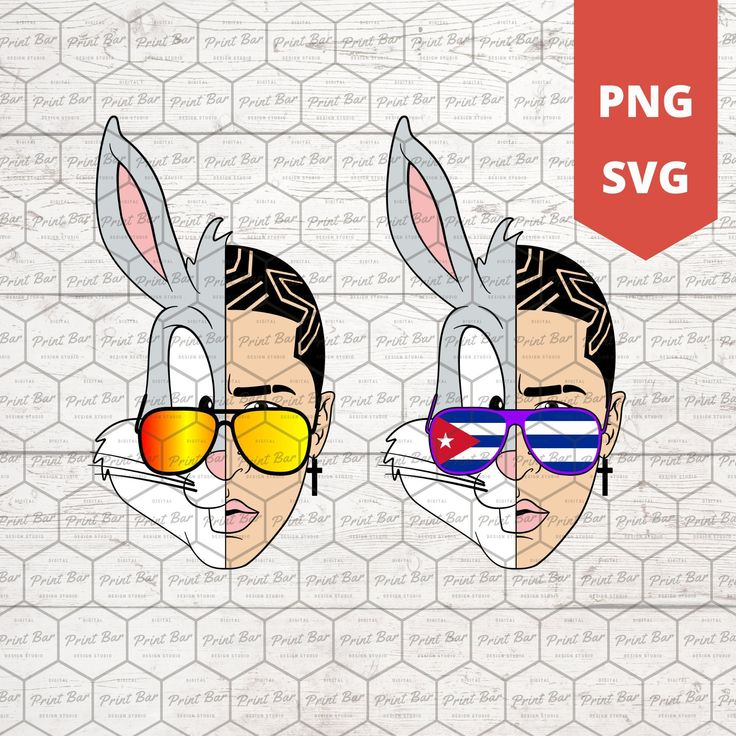 Bad Bunny face PNG SVG instant download Etsy in 2020