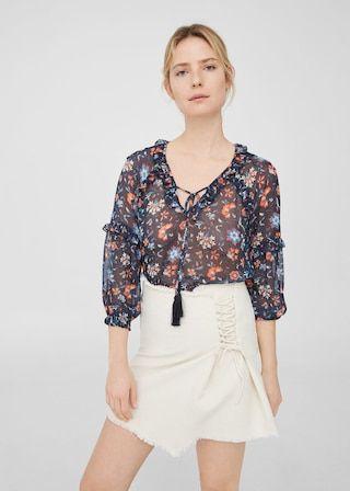 Bedrukte blouse met ruche -  Dames | MANGO Nederland