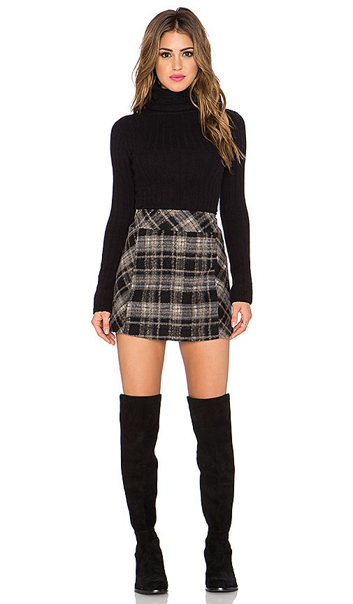 Free People Zip it to Plaid Mini Skirt in Black Combo | REVOLVE