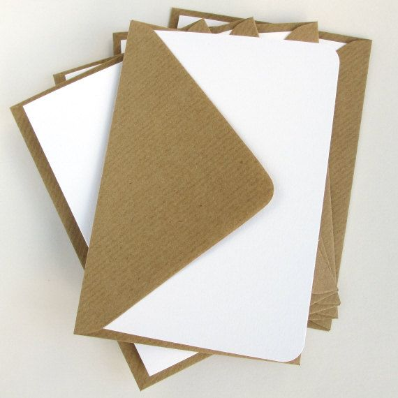 5 White Card Blanks with brown kraft envelopes, round or square corner cards