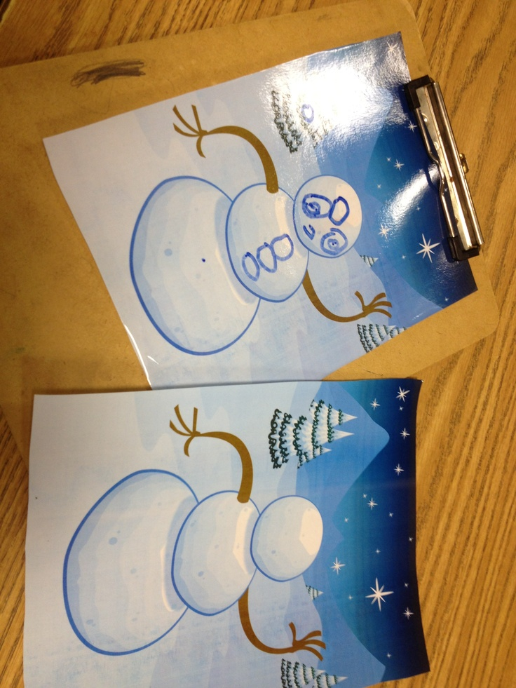 Decorate a Snowman... Laminate blank Snowman picture and