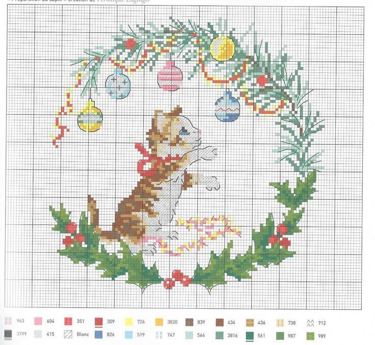 0 point de croix grille et couleurs de fils petit chaton et boules de noel de veronique enginger
