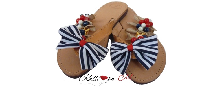 Navy leather sandals decorated with blue, red, white beads, golden starfish and bow. #sandals #flip flop #summer #handmade #navy