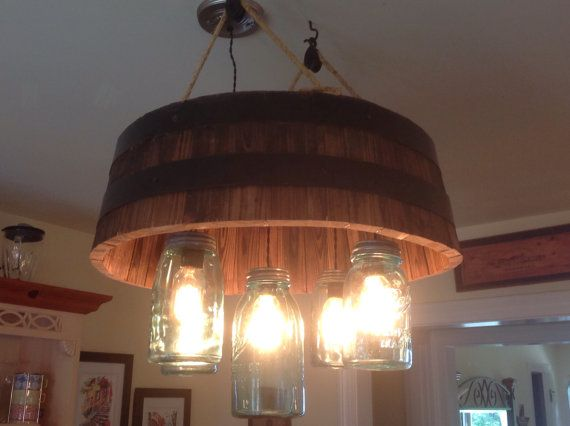 Barrel and mason jar chandelier by RusticAmbition on Etsy