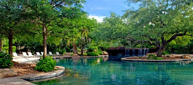 A 4-acre waterpark with a lazy river, a man-made beach and poolside loungers mirrors a lagoon.  Hyatt Regency Hill Country Resort and Spa – San Antonio, TX  $129 snique.  bike rentals, hiking,  spa