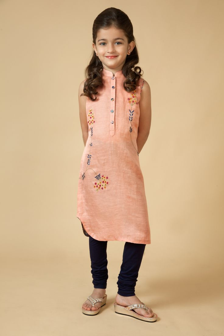 Satin Linen kurti embellished with resham work Item number KG15-02