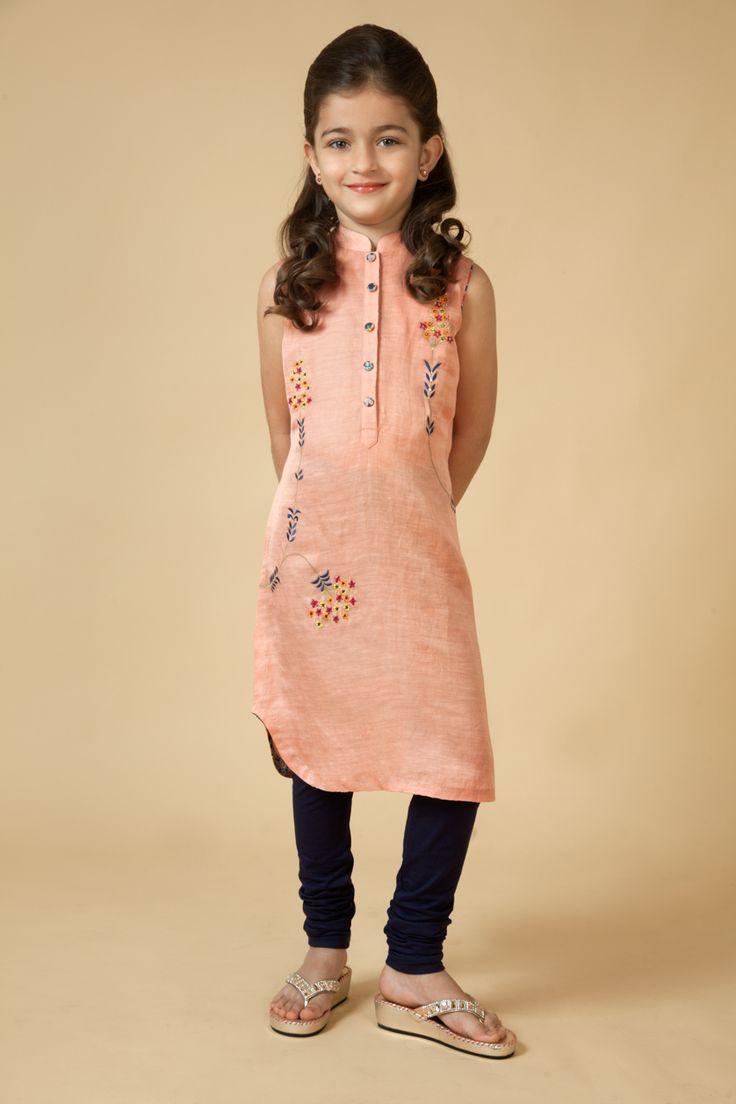 Satin Linen kurti embellished with resham work Item number KG15-02