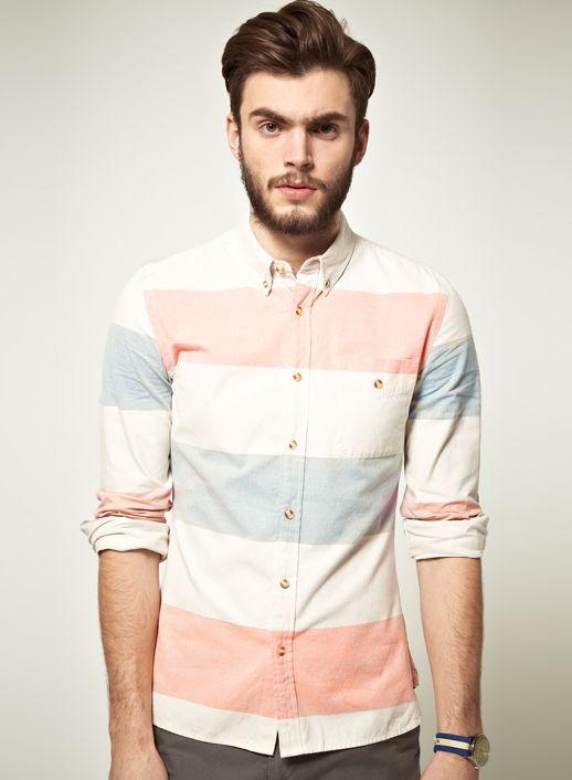 asos.Asos Shirts, Style, Asos Oxfords, Spring Summer, Men Fashion, Colors Schemes, Buttons, Oxfords Shirts, Block Stripes