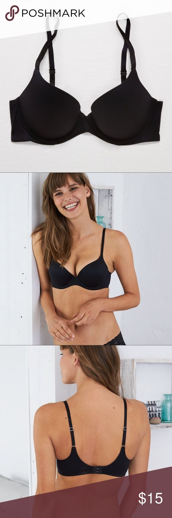 Aerie Sunnie Push up bra!  (Black) Also available in beige!  Has been worn and washed, always hang dried.  Still in great condition.  Size 30D, medium push up.  Make offers!  Tags: nude beige tan brown perky premier small medium 32c XS s aerie American eagle Harper aerie Intimates & Sleepwear Bras