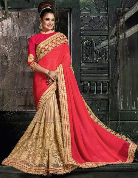 Yuvika Chaudhary Beige and Shocking Red Saree  https://www.ethanica.com/products/yuvika-chaudhary-beige-and-shocking-red-saree