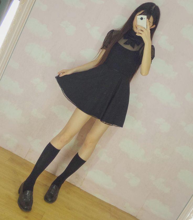 Cute Women's 2PCS Set Black See-throught Top Black Dress with Black Suspender Vest Vintage Harajuku One Piece