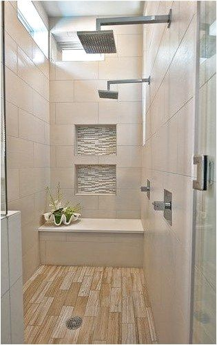 Love This Large Shower With Bench With Rustic Blonde Ceramic Wood Tile Flooring Ceramicfloor