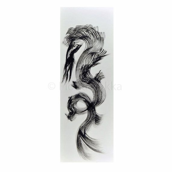 Dragon drawings black and white paintings abstract by fionazakka