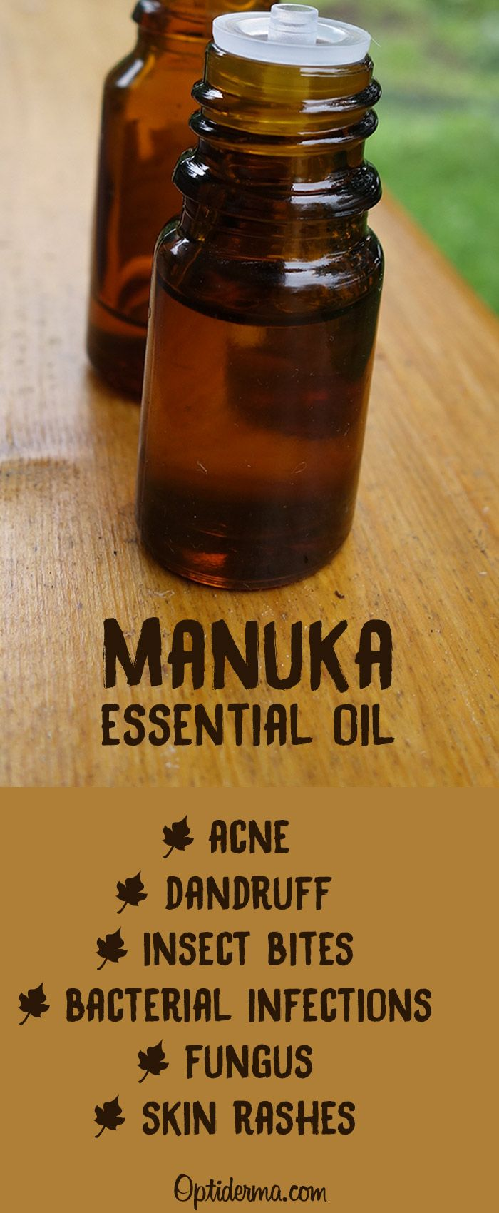 Manuka Essential Oil is renown for its antibacterial, anti-fungal and anti-inflammatory properties. It relieves skin irritation and infections. You can use it for dandruff, insect bites, skin rashes, fungus and skin conditions such as acne, eczema or psoriasis. Here I explain how you can use it for best results: https://www.optiderma.com/articles/manuka-oil/