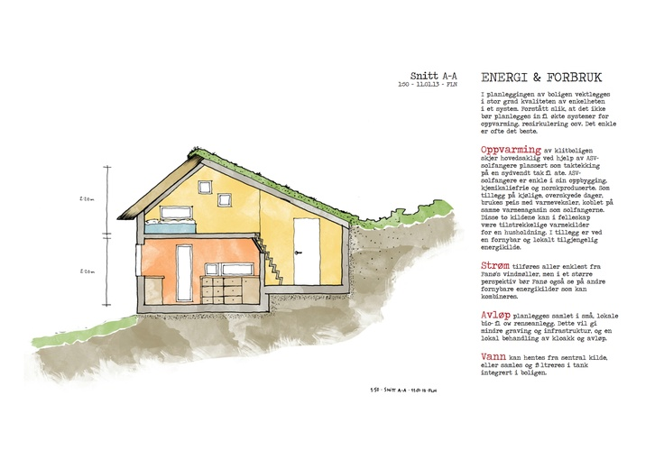 Section of the compact, expandable and affordable low-impact home, also made for my Fanø-project in 2012. It's fairly small, but sensible and effectively houses 2-3 persons with a 56,3 m2 footprint, and up to 6 persons with one or two extending tiny buildings containing bedrooms, office and livingroom-functions.