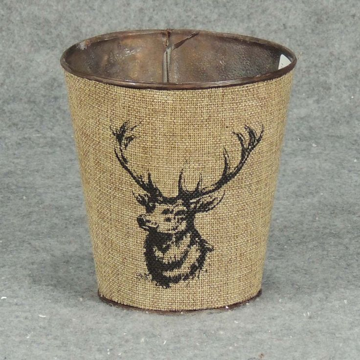"""1 Pc, 5"""" Wide & 5.25"""" Tall Elk Planter With Liner Primitive/Outdoor Style Winter Decorations, Grey metal, Outdoor Décor"""